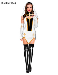 Wholesale Dress Halloween Adult Sexy - Wholesale-4 Pcs Faux Leather Sexy Nun Costume Adult Women Cosplay Dress With White Hood For Halloween Costume Sister Cosplay Party Costume