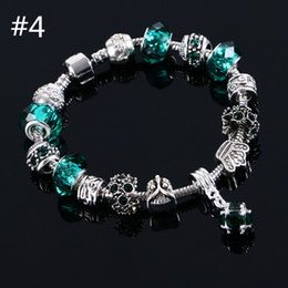 Wholesale Sterling Silver Murano Style Bracelet - beaded charms jewelry bracelets infinity beads bracelet 6 Colors Fashion 925 Sterling Silver Daisies Murano European Fits Style