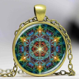 Wholesale Long Glass Flowers - Multicolor Flower of life pendant necklace silver chain statement long necklace glass dome om mandala yoga jewlery buddhist gift