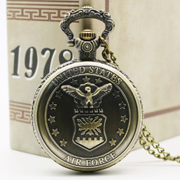 Wholesale Free State Steel - Wholesale-Antique Bronze United State US Eagle Stars Quartz Pocket Watch Necklace Pendant Best Gift Free Shipping