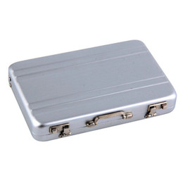 Wholesale Briefcase Hasp - Wholesale-1pc Mini Briefcase Business Card Case ID Holders Password Silver Aluminium Credit Case Box Hot Selling