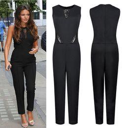 Wholesale Slimming Elegant Clothes - Elegant Jumpsuit for Women 2016 Slim Sleeveless Lace Romper Woman Summer Panelled Bodysuit Lady Clothing Pants