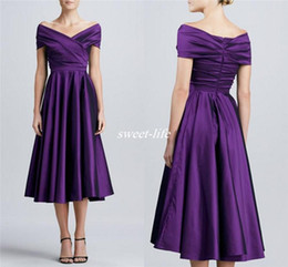 Wholesale Champagne Dress For Brides Mother - Purple Tea Length Mother of the Bride Dresses with Short Sleeves 2016 Off Shoulder Plus Size Long Women Formal Party Dresses For Wedding