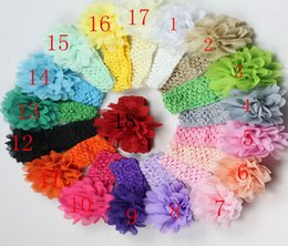 Wholesale Elastic Headband Hair Rope - Baby lace Flower Hair band 18 color silk Hair rope band knitted elastic headband Head Bands baby Hair band