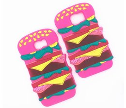 Wholesale Iphone5 Cute Cases Covers - Newest Soft Silicone Cute Cartoon Simulation food Hamburger bread Case Cover For iphone5 5s se 6 6s 6plus 6splus sAMSUNG S6 S7 edge