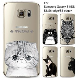 Wholesale Owl Tpu Case S4 - Wholesale-Phone Case for Samsung Galaxy S4 S5 S6 S6Edge S6Edge+ Soft TPU Silicon Transparent Thin Cover Cute Cat Owl Animals Skin Shell