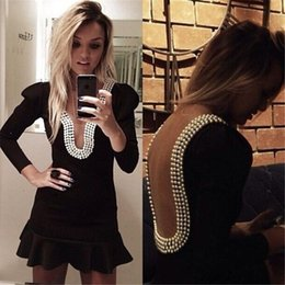 Wholesale Sexy Night Wear Picture - Little Black Mini Short Cocktail Dresses Keyhole Neck Pearls Sexy Backless Ruffles Prom Party Gowns Long Sleeves Club Night Out Dresses