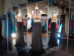 dos piezas vestidos de fiesta jersey Rebajas Jersey negro sin mangas de dos piezas escote alto con cuentas negras Vestido de baile de graduación con forma de llavero vestido de baile con cristales