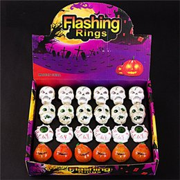 Wholesale Toy Pumpkins - New Creative Halloween Light up LED ring ghost head Eyeball pumpkin Skull flashing rings children's LED toys kids party accessories F671-1