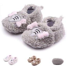 Wholesale Girl Monkey Plush - New Arrival Baby Shoes for Girl Boy Winter Walking Plush Upper Elephant Monkey Rabbit Soft Sole 0-12 Months