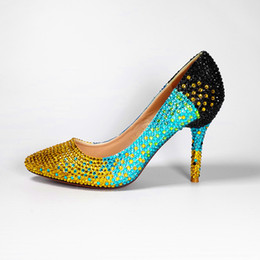 Wholesale Evening Dress Cinderella Style - 2017 New Korea Style Women Pumps Sparkly High Heel Shoes Pointed Toe Bride Crystal Cinderella Evening Bridal Italian 10cm Wedding Balck Shoe