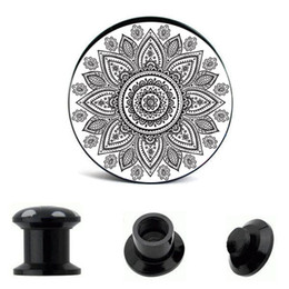 Wholesale Acrylic Ear Expander - Acrylic Flower Of Life Ear Gauges Plugs And Tunnels Stretcher Expander 4mm-16 64pcs Double Flared Screw Fit Plug Piecingv