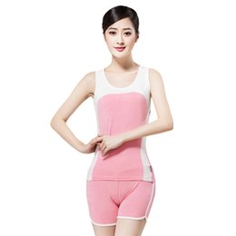 Wholesale Outdoor Dl Free - Wholesale-2016 Summer Free Shipping Women Outdoor Sport Running Short + Vest Shorts Set Modal Gym Casual Yoga Clothes DL 44