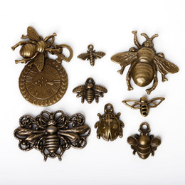 Wholesale Mix Antique Bronze Pendant - Free shipping New Wholesale 46pcs lot Mixed Tibetan Zinc Alloy Bees Charms Antique Bronze Plated Pendants For DIY Jewelry Findings jewelry