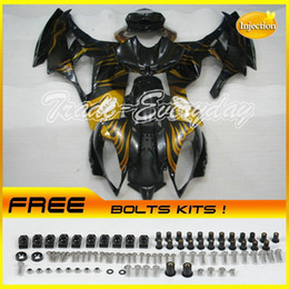 Wholesale Yamaha R6 Gold - Injection Mold Fairing Kit With Rear Seat Cover Half Tank Fit YZF600 R6 2006-2007 YZF 600R6 06-07 Gold Flame Black 10V51