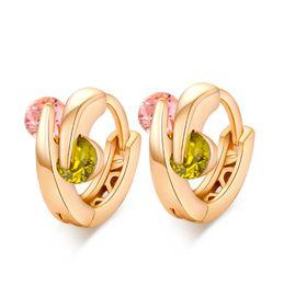 Wholesale Real Hoop Earrings - Allergic Free Real 18K Yellow Gold Plated AAA CZ Earrings Hoops for Kids Children Girls Women Nice Gift