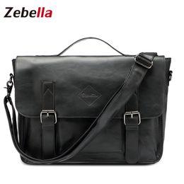 Wholesale Lawyers Briefcase - Wholesale- Zebella Quality Black Vintage PU Leather Briefcase Men Messenger Bags Male Business Office Bag Lawyer Office Laptop Handbag