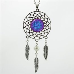 Wholesale Glass Dc - 2016 Trendy Style Dreamcatcher Pendant Purple Blue Om Necklace Flower of Life Jewelry Dream Catcher Necklace DC-00157