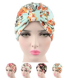 Wholesale Wholesale Turban Printed - New Bohemian vintage stretchy Cotton floral fruit print Turban Hat Headband Wrap Chemo Bandana Hijab knotted Indian cap