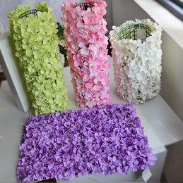 Wholesale Purple Flower Backgrounds - Pillar artificial silk hydrangea flower wall Wedding background flower panel lawn plant wall party background decoration WT018