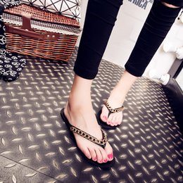Wholesale Popular Slippers - Summertime Rubber Non-Slip Metal Woman The European And American Popular Logo Chains Sandals Sandals Hot Style