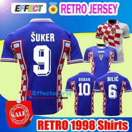 Wholesale Vintage Gold - Retro 1998 Vintage MODRIC Suker BILIC BOBAN National Futbol Team Soccer Jerseys World Cup Croatiaes Mexico Limited Edition Football Shirts