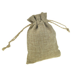 Wholesale Candy Bags For Weddings - Faux jute Small Jute Bags with Hessian Drawstring 8x11cm for candy coffee bean Jewelry wedding bomboniere Gift packaging