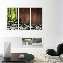 Wholesale Canvas Wall Art Bamboo - 3 Picture Canvas Paintings Wall Art Bamboo Grove And Black Zen Stones On The Old Wooden Background On Canvas Botanical At Home Decor