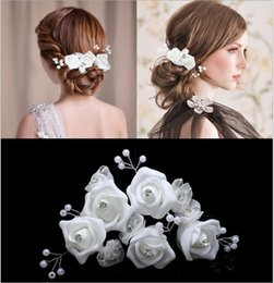 Wholesale White Silk Flower Pin - 6pcs Lot Wedding Accessories Bridal Hair Pins Flower Hair Clips Bridesmaid Tiara Jewelry Headwear Wholesale