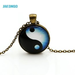 Wholesale Yin Yang Pendants - JAKONGO necklaces Glass Necklace Jewelry glowing necklace for women men 2016 New Glow in the dark necklace Yin Yang Pendant N003