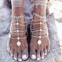 Wholesale Silver Stretch Rings - Barefoot Sandals Stretch Anklet Chain with Toe Ring Slave Anklets Chain Retaile Sandbeach Wedding Bridal Bridesmaid Foot Jewelry