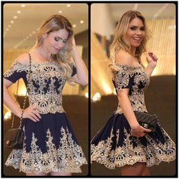 Wholesale Vogue Classic - Vogue Gold Lace Appliques Short Homecoming Dress Navy Blue Short Mini Graduation Vestidos De Prom Party Gowns Cheap Slim