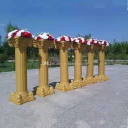 Wholesale Wedding Cake Knifes - wholesale high quanlity plastic roman columns for wedding road lead props white gold 88cm 90cm party concert decorations