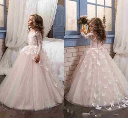 Wholesale Butterfly Sleeves - Glamorous Butterfly Flower Girls Dresses For Wedding 2017 Long Sleeves and Crew Neck Appliques Blush Pink Little Girls Prom Gowns
