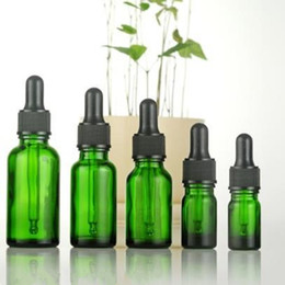 Wholesale Dropper Bottle Green Caps - 5ml 10ml 15ml 20ml Green Glass Dropper Bottles Essential Oil Glass Rubber Head And Childproof Cap Glass Pipette F20171793