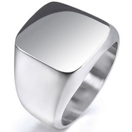 Wholesale Imitation Band - Size 7-15 Classical Stainless Steel Signet Biker Ring Cocktail Punk Polish Shield School Free Shipping Worldwide