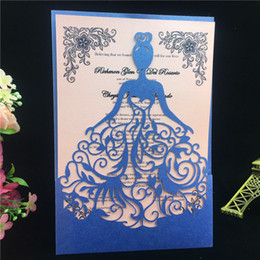 Wholesale Wedding Invitation Laser Cut - Wholesale- Blue 50pcs Free Printable Laser Cut Wedding Invitations Card Christmas Card Girl Birthday Party Decoration Greeting Card Paper