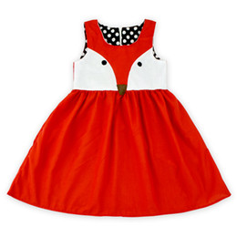 Novrlty Posh Girl Dress, Red Fox sin mangas Sunny Kids Dresses, Toddler Girl Summer Dress, Ropa para niños de dibujos animados, Traje de niños desde fabricantes