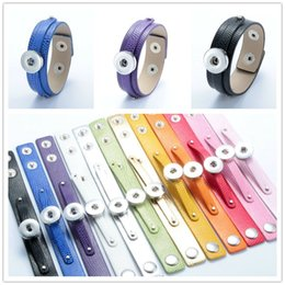 Wholesale Fit Jewelry Design - New Brilliant Candy Colors NOOSA Leather Bracelets Simple Design Fit DIY 18MM Snap Buttons Interchangable Snap Button Charm Jewelry