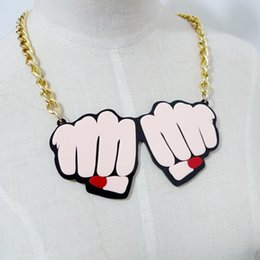 Wholesale Fist Pendant - Fashion Hip Hop Club Jewelry Accessories Personality Metal Gold Chain Acrylic Fist Women Choker Necklace Wholesale
