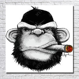 Wholesale Monkey Oil Painting Canvas - Cartoon wall art picture decorative design art painting monkey smoking free shipping by hand painted animal oil painting