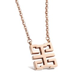 Wholesale Chinese Snake Jewelry - Hollow square Chinese characters Happy Pendant Popular Titanium Steel Women Men Necklace Jewelry Classical Design Birthday Gift