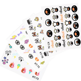 Wholesale 24 Nail Art Designs 3d - Fashion harajuku 3D Nail stickers monster Nail art template 24 Designs Nail decals 16pcs set DIY Manicure Tools