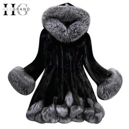 Wholesale Mink Fur Coat Hood - HEE GRAND 2017 Fashion Winter Women Faux Fox Mink Fur Coat Woman Luxury Medium Long Fake Fur Coats Mujer Female Faux Fur WWP196