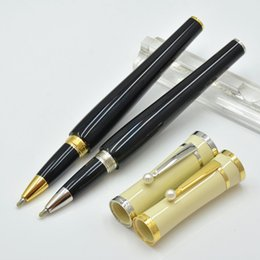Wholesale Black Star Ball - Hot sale MB black and white resin Roller ball pen with star school office stationery luxury brand Writing ball pens for Gift M8
