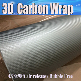 Wholesale Fibre Carbon - High qualit Silver 3D Carbon Fiber vinyl Carbon Fibre Car wrapping Film Foile with Air Drain For vehicle Graphic Free shipping 1.52x30m Roll