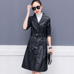Wholesale Trench Coats Leather Sleeves - Women Faux Leather Jacket Suede Trench Coats Long Duster Coat F225 Fashion Black PU Leather Overcoat Gray Purple