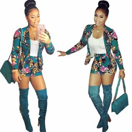 dd2caa50e0f New Autumn winter Printing Shorts Women 2 Piece Rompers Casual Blazer+Pants  Long Sleeve Office Jumpsuit Women Bodysuit Fashion Club Playsuit