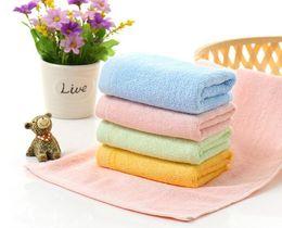 Wholesale Antibacterial Face Towel - Kids Baby Fiber Towel 25 x 50 cm Soft Sweat Handkerchief Antibacterial Solid Color Home Outdoor Towels