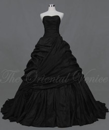 Wholesale Gothic Corset Skirt - Black Corset Gothic Wedding Dress 2017 Vestidos de Novia Real Image Sweetheart Ruched Taffeta Ball Gown Victorian Bridal Dresses Plus Size